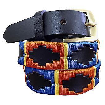 Carlos díaz premium de cuero marrón bordado diseñador flaco gaucho polo cinturón awo93253