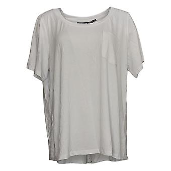 Elizabeth & Clarke Women's Plus Top Knit T-Shirt StainTech White A310415