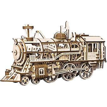 3d Wooden Puzzle Gift For Teens And Adults Locomotive Mechanical Building Model Kit