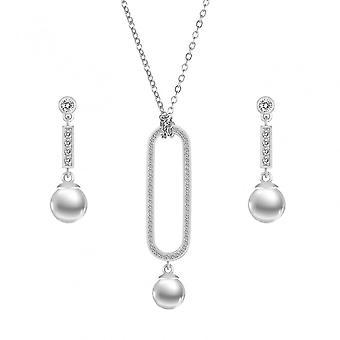 Shell Pearl colier și cercei Set cu cristale Swarovski - argint