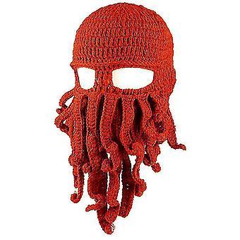 Octopus Hat drôle masqué fait à la main crocheté chapeau chaud(Rouge orangé)