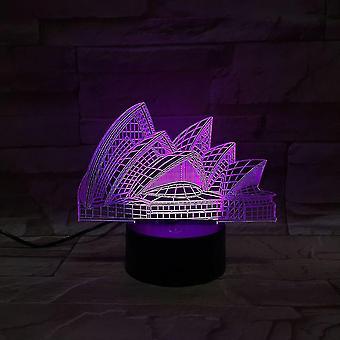سيدني دار الأوبرا 3d أدى ليلة ضوء غرفة نوم مصباح مصباح تغيير
