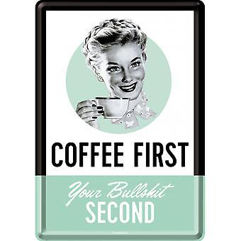 Kaffe First Metal Nostalgiskt Kort med kuvert
