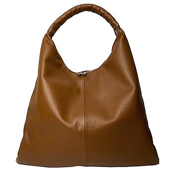 Kamel stor zip top läder hobo väska