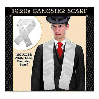 Mens gatsby 1920s hollywood gangster white scarf silky soft with tassels costume