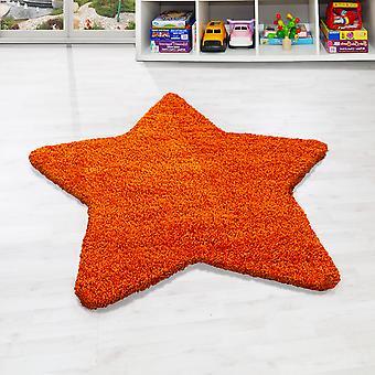 Tapijt ster vorm kinderen tapijt hoge stapel ruig sterrenpatroon oranje kleur