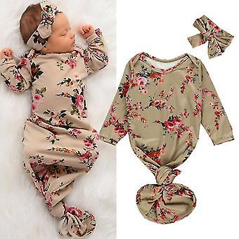 Newborn Baby Sleeping Bag Flowers Print Infant Blanket Swaddle Wrap Gown