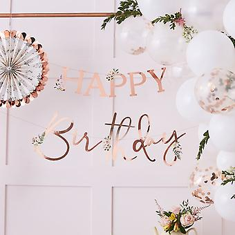 Floral Rose Gold Happy Birthday Banner Bunting 4m with Flowers