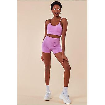 Cosmochic Cropped Bralette & Cycle Short Set - Purple