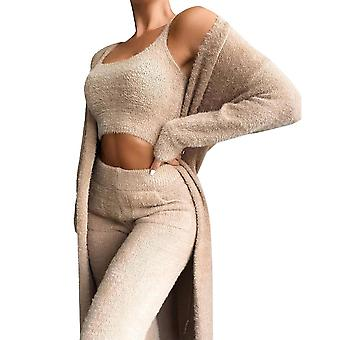 Women Teddy Tracksuit Loungewear Fleece Vest Pants Cardigan 3pcs Set