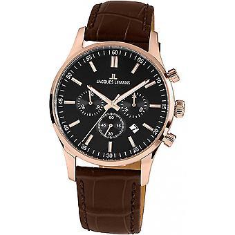 Jacques Lemans Brown Genuine Leather 1-2025D Reloj de hombre