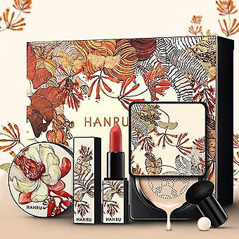 Makeup brushes 4 pcs/set air cushion bb cream loose powder mushroom puff matte lipstick |makeup sets