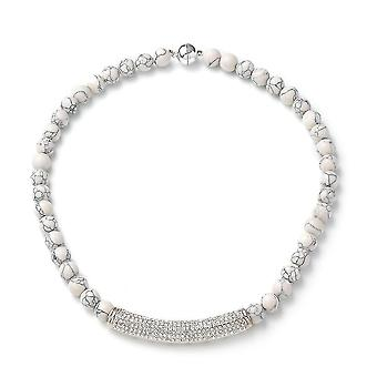 TJC Perličový struna Náhrdelník pro ženy 20 '' Howlite a syntetický krystal 0.002ct