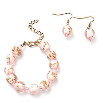 TJC Beaded, Drop Dangle Smykker Sæt til Kvinders Pink Murano Glass 0,004ct