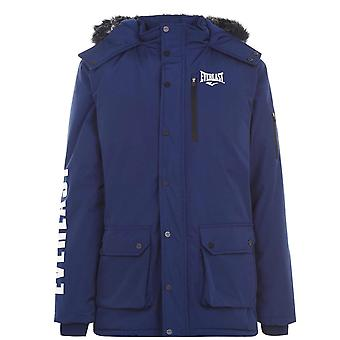 Everlast Mens Hooded Parka Faux Fur Jacket Coat Full Zip 2 Pockets Casual Top