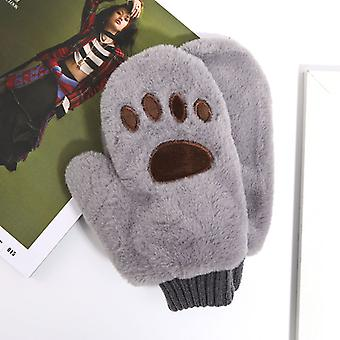 Cartoon Winter New Plush Stretch Knit Bear Paw Warm Gloves For Girls