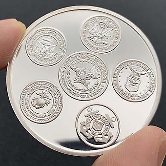 Insigne américain Cinq armées Médaille plaquée argent Collection Pièce cadeau Aigle Pièce d'or Pièce commémorative