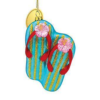 أزرق الوجه يتخبط مع الكركديه الوردي مهب الزجاج عيد الميلاد عطلة زخرفة.