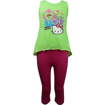 Dziewczyn Hello Kitty Koszulka bez rękawów / Top idealna 3/4 legginsy Set