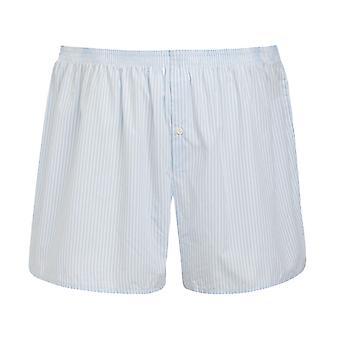 Jockey Mens Classic Midway Cotton Woven BoxerShort Underwear XXL Light - Dark Blue Stripes