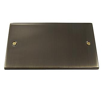 Causeway 2 Gang Blank Plate, Antique Brass