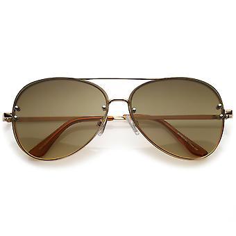 Oversize montuurloze Aviator zonnebril dubbele dwarsbalk kleurovergang Lens 61mm