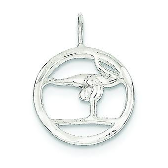 925 Sterling Silver Polished Sparkle-Cut Gymnastics Charm - 1.8 Grams