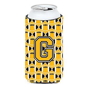 Letter G Football Black, Old Gold and White Tall Boy Beverage Insulator Hugger