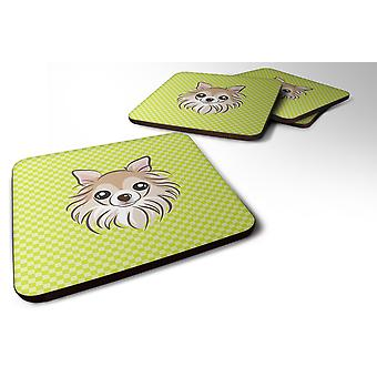 Set of 4 Checkerboard Lime Green Chihuahua Foam Coasters