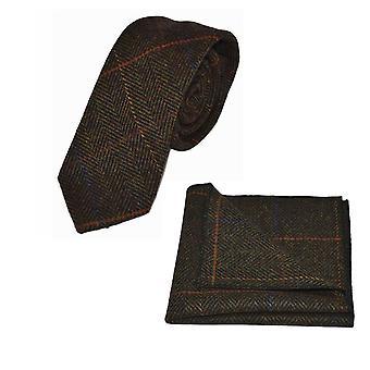 Cravatta di lusso mogano Herringbone Check & Set Square Pocket, Tweed