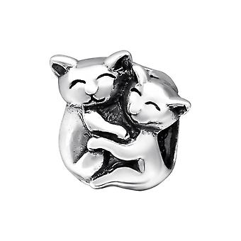 Couple Cat - 925 Sterling Silver Plain Beads - W28218X
