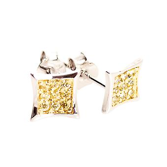 Sterling 925 Silver MICRO PAVE earrings - ICE gold 8 mm