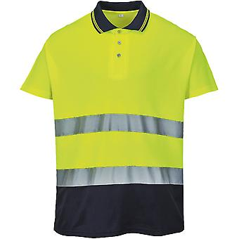 Portwest メンズこんにちは可視性 2 トーン コットン コンフォート機能ポロシャツ