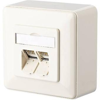 Metz Connect Network outlet Surface-mount CAT 6 2 ports Oyster white