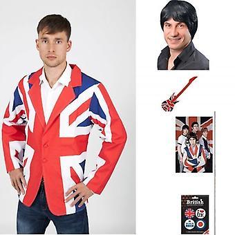 Union Jack bære Pete Townsend Kit, jakke, 60 parykk & gitar