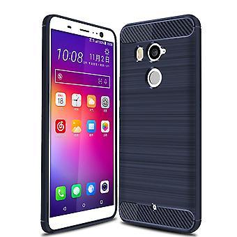 HTC U11 + TPU caso óptica de fibra de carbono escovada azul caixa protetora