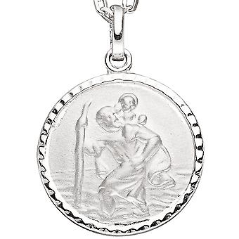 Christopher pendant Saint of Christopher round sterling silver mat
