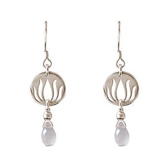 Damen - Ohrringe - 925 Silber - Lotus Blume - Rosenquarz - Tropfen - Rosa - YOGA - 3,5 cm