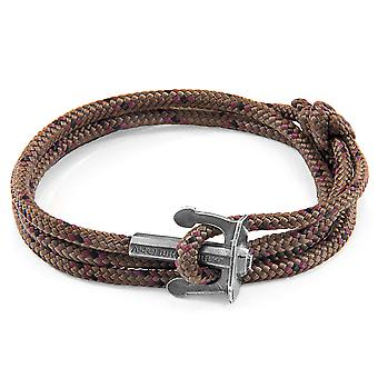 Anchor & Crew Brown Union Anchor Silver and Rope Bracelet