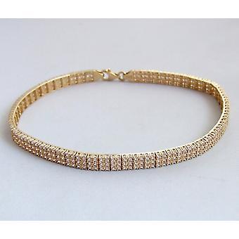Golden Christian bracelet with cubic zirconia