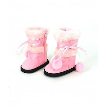 "18"" Stiefel Puppe Kleidung leicht rosa Fell mit Band"