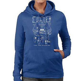 Jeux de Nintendo 64 N64 Console Hooded Sweatshirt Blueprint brevet féminines