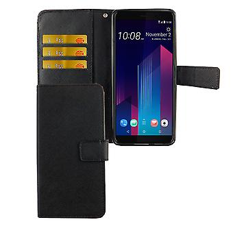 HTC U12 + plus protector funda Flip del caso con el titular de la tarjeta negra