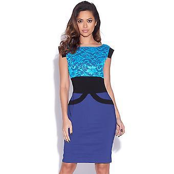 Twee Toon Blue Lace Bodycon jurk
