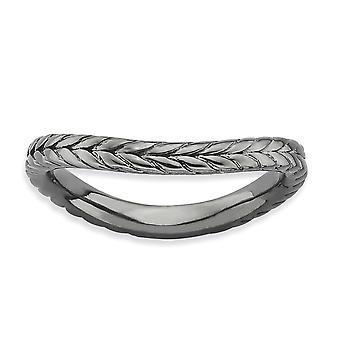 2.25mm 925 Sterling Silver Patterned Ruthenium plating Expressões Empilháveis Expressãos Polida Black plate Wave Ring Jewely Gift