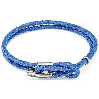 Ancla y equipo Padstow plata y cuero pulsera - azul real