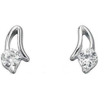 Beginnings Cubic Zirconia Open Setting Stud Earrings - Silver/Clear