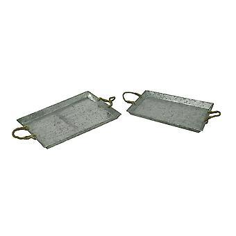 Galvanized Metal Rustic Serving Tray w/Jute Rope Handles Set of 2