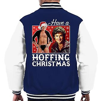 David Hasselhoff Have A Hoffing Christmas Men's Varsity Jacket