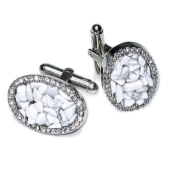 Zilver-Tone Manchetknopen elliptische stenen mannen Manchetknopen